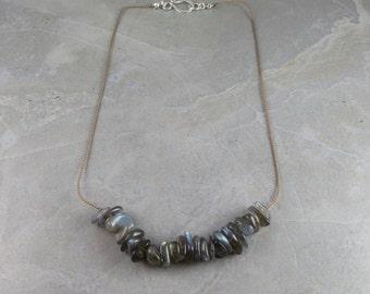 Labradorite And Silk Necklace