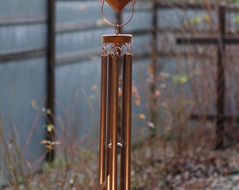Wind Chimes Sea Glass Large Copper Chimes beach glass stained glass outdoor windchime