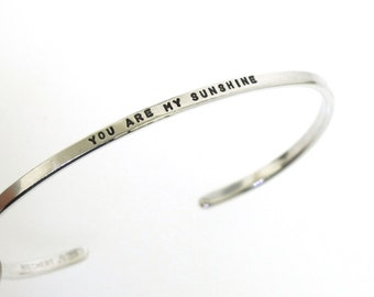 You Are My Sunshine, hand stamped sterling silver cuff bracelet, hand stamped jewelry, thin stacking bracelet by Kathryn Riechert