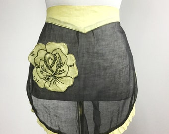 Sheer Black Apron - Yellow Flower Pocket with Black Embroidery Stitching - Pale Yellow Ruffle and Waistband - Vintage 50s Half Apron