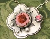 "Czech Glass bezel set Flower Bead ""Rose Garden"" Sterling Pendant with pink Salmon Sorbet CZ stone - OOAK"