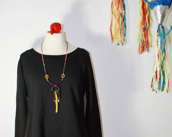 WOV handwoven unisex necklace - fiber and rubber - gold khaki neon pink and black - modern oversized bold statement jewelry