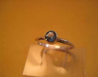 London Blue Topaz ring 18kt and sterling stackable ring