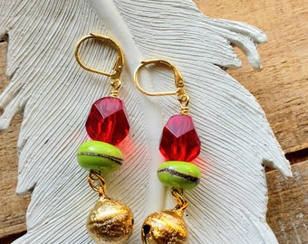 Christmas Earrings, Red and Green, Holiday Jewelry, Dangle Earrings, Drop Earrings, Boho Chic, Funky Earrings, Unique Gifts