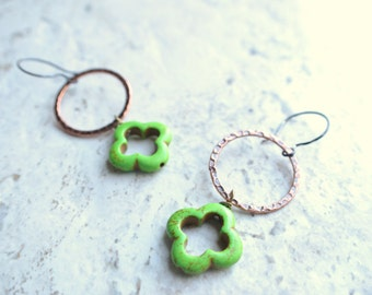 The Izmit- Green Howlite and Brass Hoop Earrings