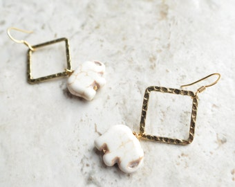 The Ganesha- White Howlite Elephant and Gold Hoop Earrings