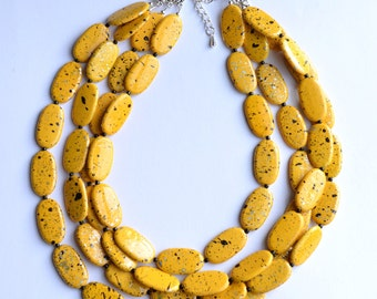 Miranda - Yellow Black Silver Acrylic Multi Strand Statement Necklace