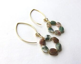 Indian Agate Gemstone Hoop Earrings, Gold Fill Agate Wreaths, Round Woodland Earrings, Almond Shaped Gold Fill Earwires, Earthtones