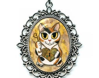 Steampunk Cat Necklace Calico Cat Valentine Cat Big Eye Fantasy Cat Art Silver Cat Cameo Pendant 40x30mm Gift for Cat Lovers Jewelry