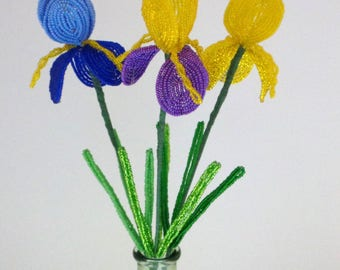 Trio of French Beaded Flowers Iris