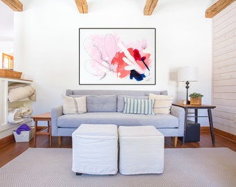 Large Abstract Fine Art Print, Edgy Abstract Giclee of original pink and navy painting by Megan Carty