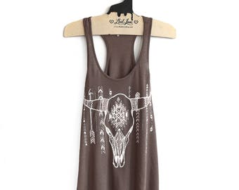 Medium- Brown Slub Speckle Racer Back Tank with Cow Skull Screen print