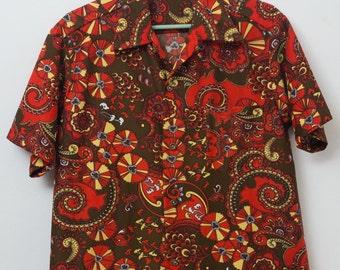 Vintage 70s Men's Hawaiian Shirt Size L Large Mad Men