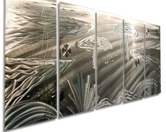 Extra Large Abstract Underwater Art, Silver Modern Metal Wall Sculpture, Contemporary Beach Decor, Handmade - Silver Sting XL by Jon Allen