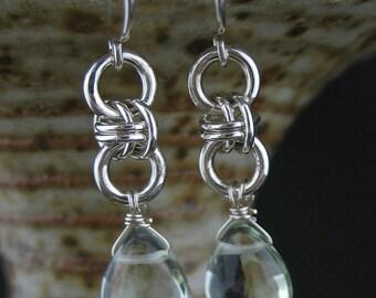 Green Amethyst Chainmaille Earrings, Prasiolite Green Amethyst Chainmail Jewelry, Green Stone Chain Link Earring, Green Silver Chain Jewelry