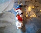 Bully, Bull Terrier dog ornament, Christmas, OOAK, clay, handmade, whimsical, pawsnclaws