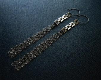silent silver - minimal gunmetal and silver geometric tassel earrings - repurposed jewelry