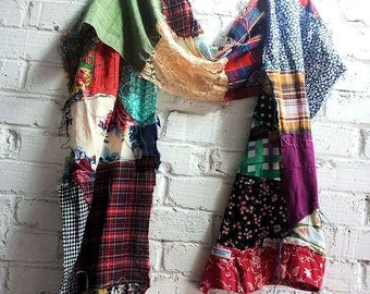 Bohemian scarf extra long scarf  patchwork scarf hobo hippie scarf altered couture refashioned clothing boho gift