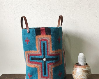 Woven Bucket- Turquoise Cross Pattern