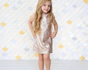 Rose Gold Sequin Dress - Rose Gold Sequin Tunic -Sequin Shift Dress - Birthday Dress - Party Dress - Sequin Tank Dress -  Rose Gold Dress