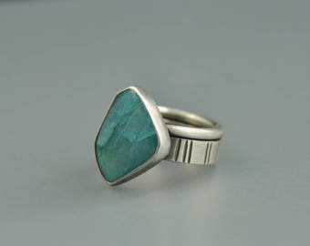 Chrysocolla Ring Sterling silver size 8