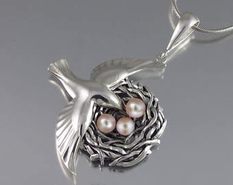 BIRD NEST sterling silver pendant with Pink Pearls