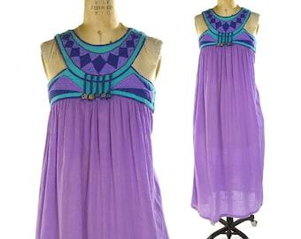 Bill Tice Sundress / Vintage 70s Indian Cotton Gauze Elizabeth Arden Patchwork Hippie Boho Gypsy Artsy Bohemian Fringe Summer Dress / Small