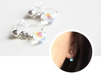 Invisible Clip On Earrings. Non-pierced Earrings. U-Clip Earrings. Mermaid Tear Earrings. Clear Hologram Teardrop Earrings. Raindrop Post
