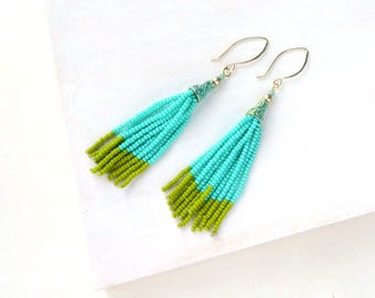 Turquoise Beaded Tassel Earrings, Boho Style Tassel Earrings, Turquoise Earrings, Long Beaded Earrings, Green Beaded Earrings, Durango Rose