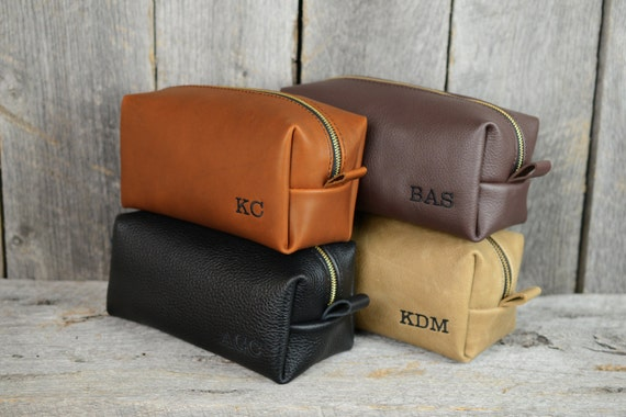 Handmade Monogrammed Leather Dopp Kit with Free Monogram and Optional Interior Message