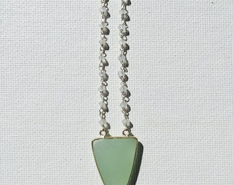 Chalcedony & Moonstone Silver Necklace