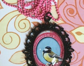 Little birdie filigree cabochon pendant necklace