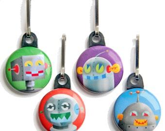 Robot Zipper Pull - Zipper Pulls Keychains Clips - Robot Birthday Favors, Robot Baby Shower Favors, Robot Stocking Stuffer - party favor