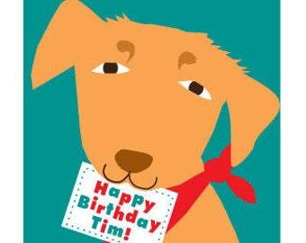custom yellow lab birthday greeting card for Lydia