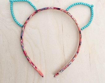 Blue Pearl Cat Ears Headband, Floral Print Headband, Bachelorette, Valentine's Day