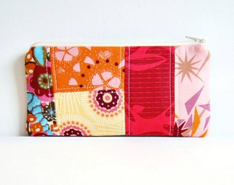 Patchwork Zipper Pouch, Cosmetic Case, Makeup Bag, Women and Teens, Anna Maria Horner, Innocent Crush
