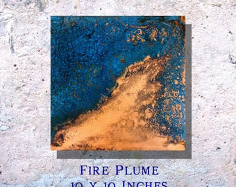 """Copper Art Abstract Patina Painting """"Fire Plume"""" 10 x 10"""" Metal Wall Art"""