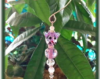 Lilac Kitty Lampwork Suncatcher with 20mm Asfour Crystal Ball Prism and Handmade Hanger, UniqueGifts, Gifts for Cat Lovers