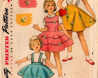 1960's Girls' CIRCLE SKIRT JUMPER Pattern Simplicity #1823 Size 2 With Transfers Vintage Sewing