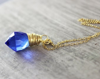 Cobalt Blue Necklace, Wire Wrap Pendant Necklace, Blue Gold Necklace, Quartz Gemstone Necklace, Dainty Chain Necklace, Blue Quartz Necklace
