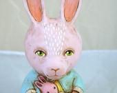 Roly Poly Pink Bunny Rabbit Original Hand Painted Folk Art Doll Paper Mache Sculpture OOAK