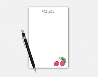 Personalized Cherry Notepad, Cherry Notepad, Personalized Notepad, Cherry Stationery