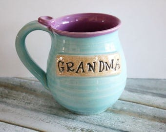 Handmade Grandma Mug - Light Blue and Violet -  Ready to Ship