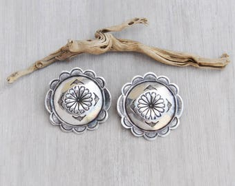 Vintage Big Concho Earrings - 925 sterling silver scalloped round stamped disks - Southwestern Native American stud earrings