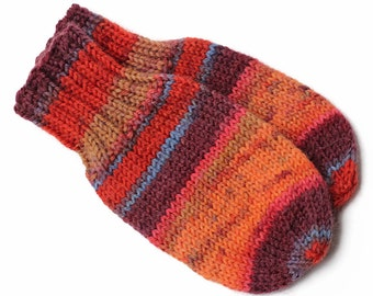 Orange Baby Mittens. No Thumb Baby Mitts. Infant Thumbless Hand Warmers. Boy or Girl Winter Mittens With Without String. 6 to 9 Months