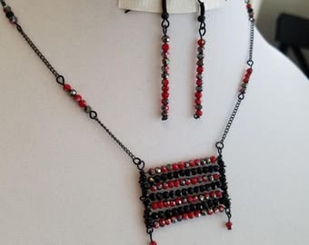 Beautiful Red And Black Beaded Necklace On Delicate Black Chain.