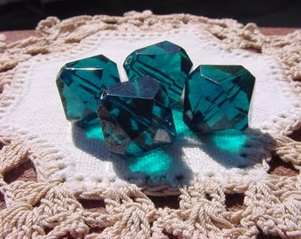 Deepest Teal Facetted Bicones Vintage Lucite Beads