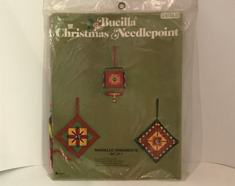 Christmas Needlepoint Kit - Makes 3 Ornaments by Bucilla Bargello Ornament Kit 1970's