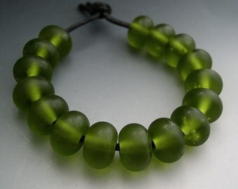 Naos Glass Satin Olive Set Made To Order Handmade Lampwork Beads SRA Green Pine Dill Forest Moss