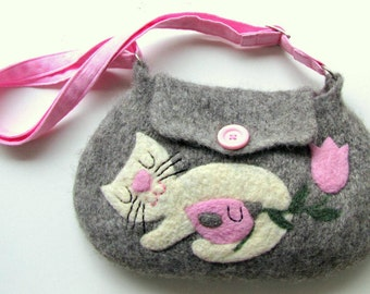 Felted bag purse gray wool handbag shoulderbag hand knit needle felted cat birdie bird flower